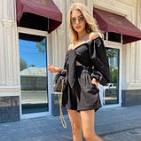 Женский костюм топ и шорты черный SKL11-292736, фото 4