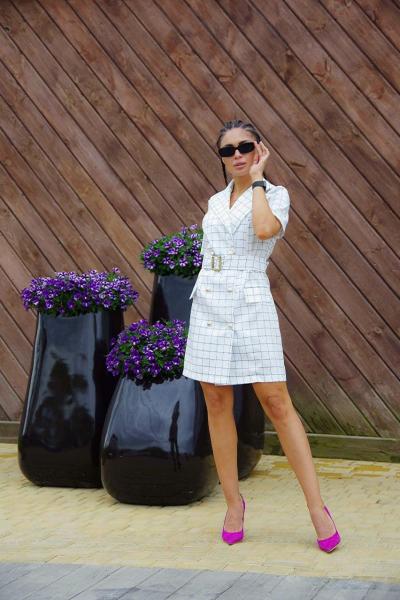 Сукня-кардиган костюмка біла в чорну клітку SKL11-292749