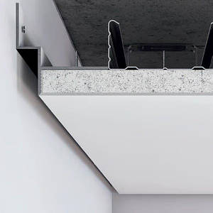 Черный алюминиевый профиль теневого шва (усиленный) 12 мм для парящего потолка с подсветкой