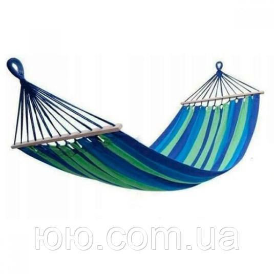 Гамак з планкою 100*220 см, синій, планка 45 см, тканинний