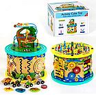 Деревянный логический куб, развивающая игра, змейка, лабиринт-пазл, счеты, шестеренки, С 39183, фото 3