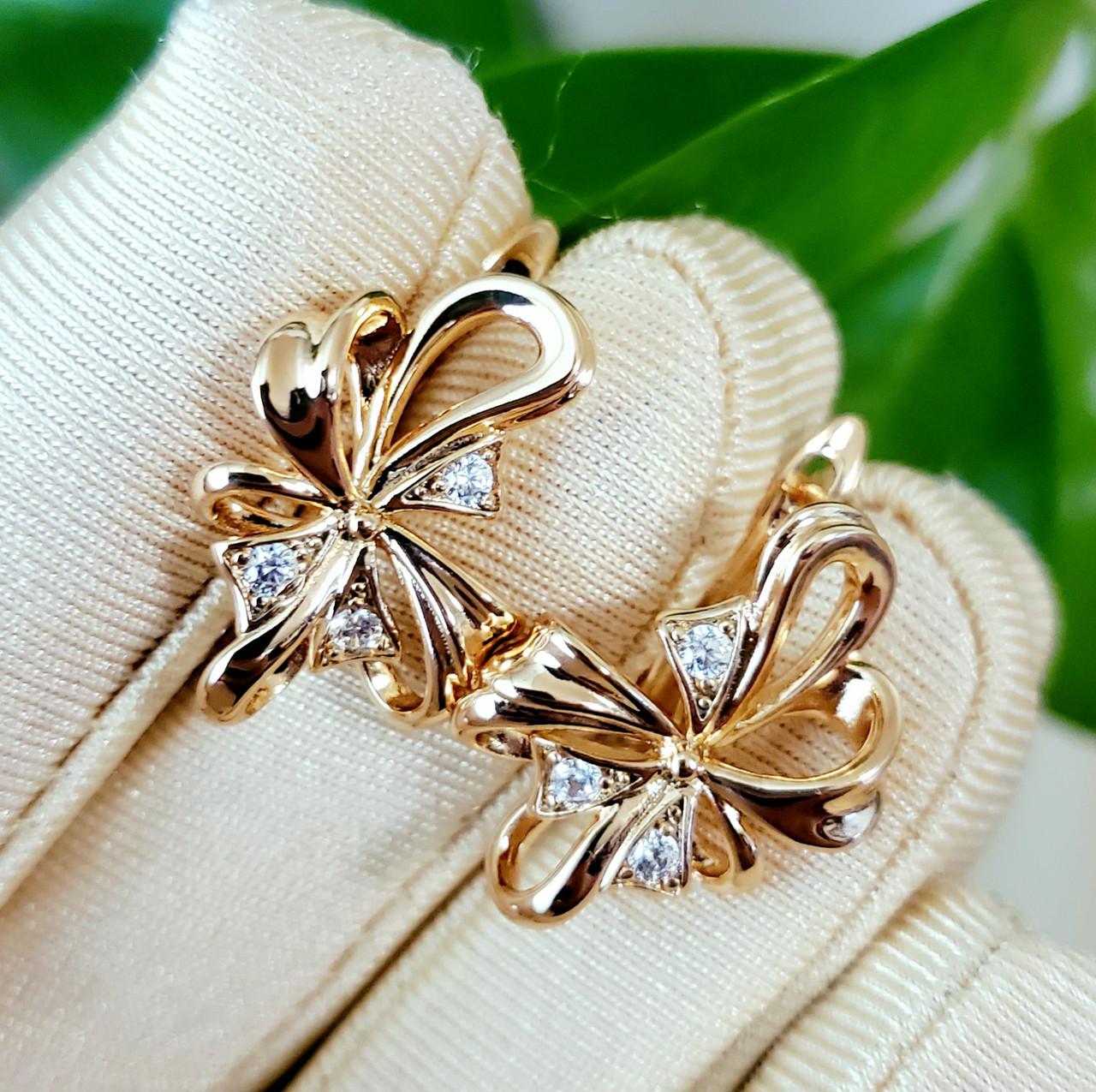 Сережки Xuping довжина 2.2см медичне золото позолота 18К с969