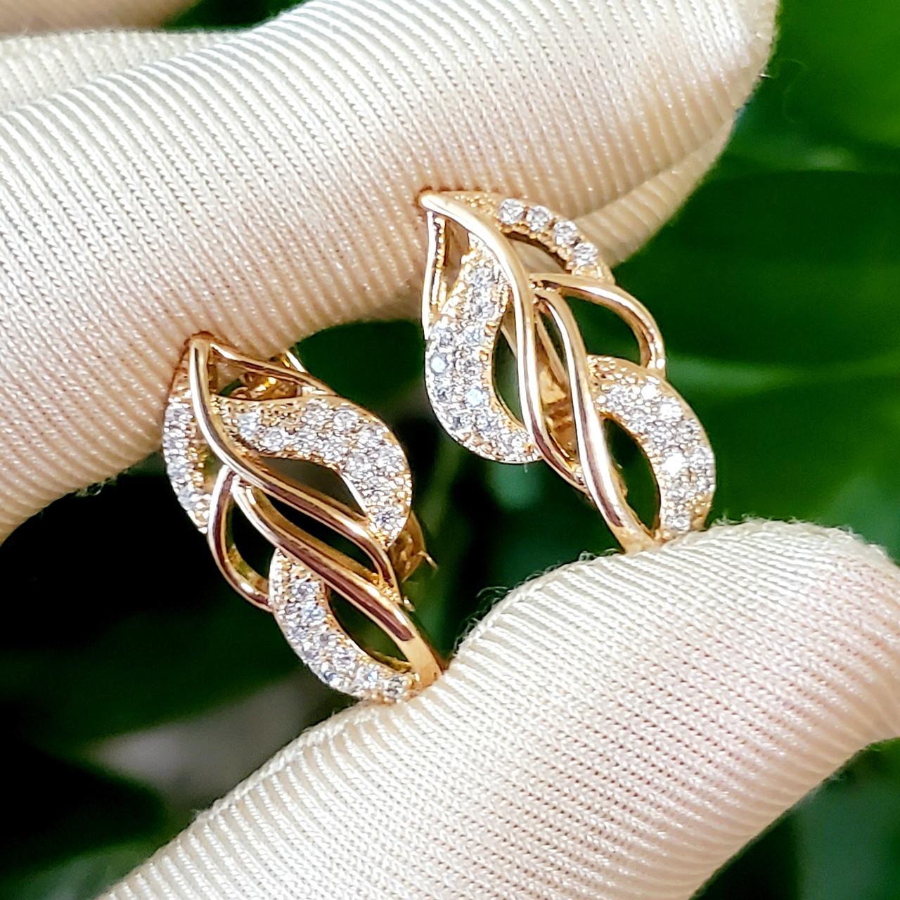 Серьги Xuping длина 2.3см листики с цирконием медицинское золото с1076