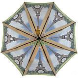 Женский зонтик красивый облегченный складной полуавтомат с Эйфелевой башней Max прочный купол (314-2), фото 2