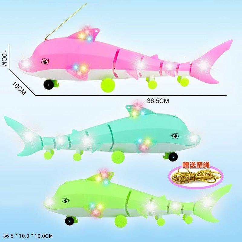 Светящаяся игрушка на колесиках,  3 цвета, Дельфин, 2776-3