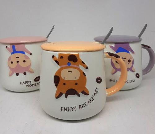 Чашка кераміческаяс кришкою і ложкою Animals 400мл, 4 види TL00203
