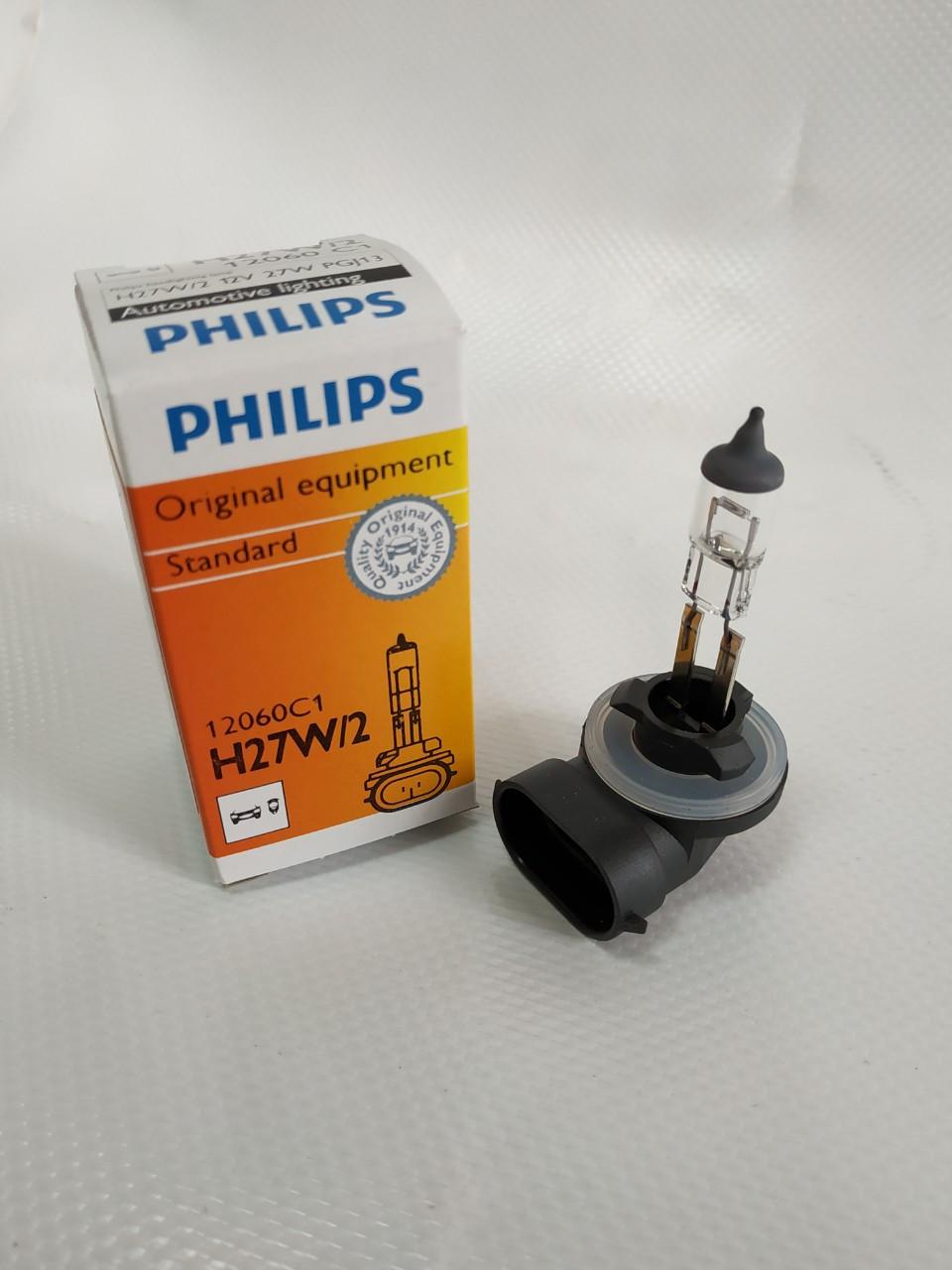 Галогенка H27 PHILIPS 12V 27W/2 +30% Standar 12060C1 PGJ13