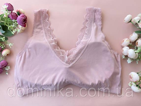 Бесшовный розовый женский топ съемным сплошным поролон-корректором, фото 2