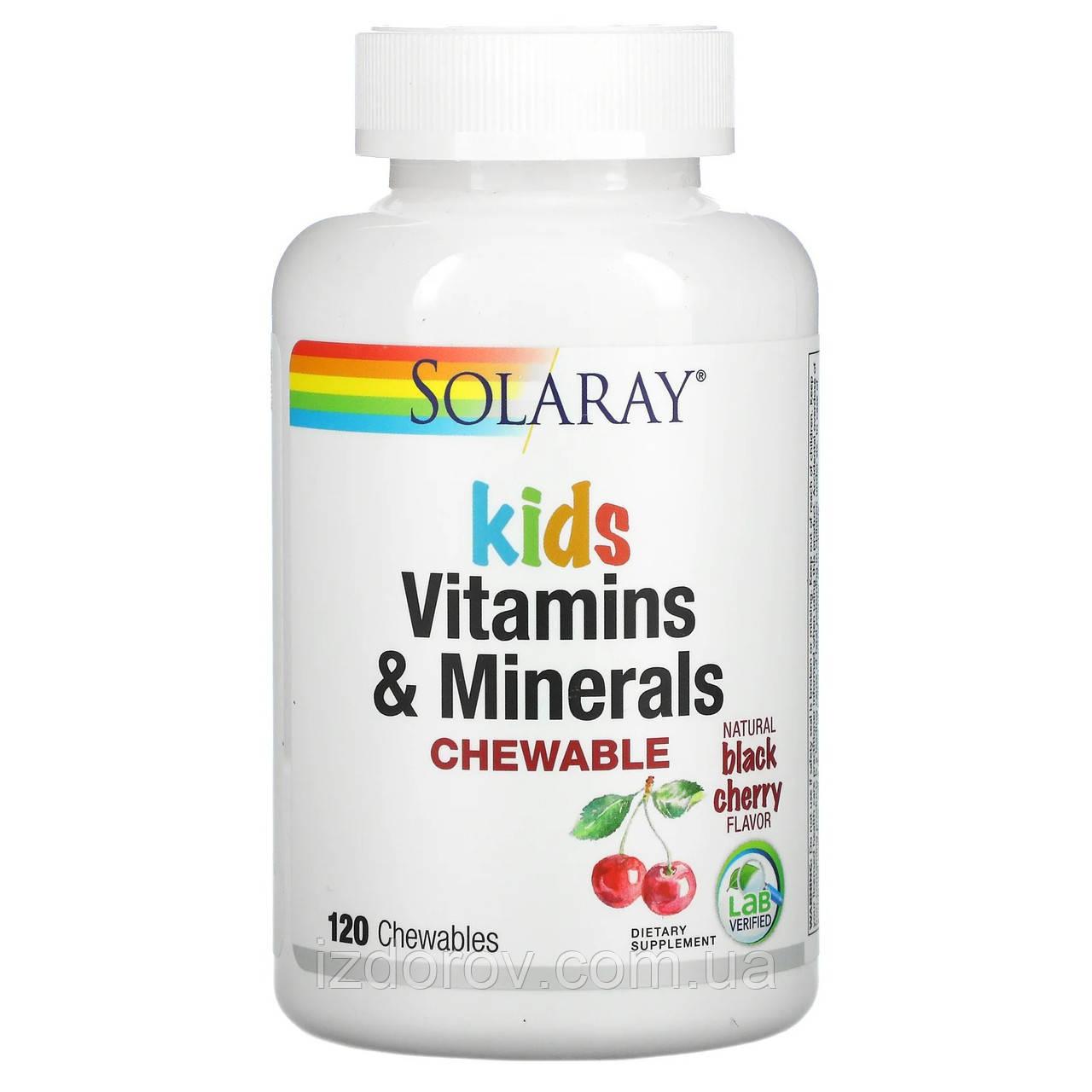 Solaray, Мультивитамины и минералы для детей, натуральный вкус черной вишни, 120 жевательных таблеток