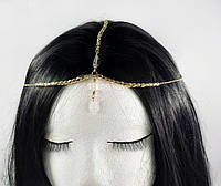 Ланцюжок золота з прозорим білим кристалом №73