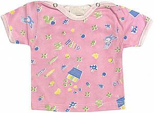 Дитяча футболка на дівчинку ріст 56 0-2 міс для новонароджених малюків кольорова бавовняна літня кулір рожева