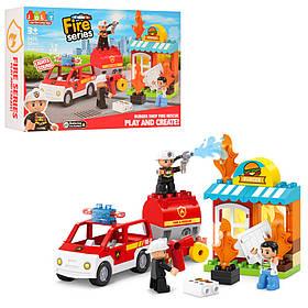 Конструктор JDLT 5420  пожарн, магазин, машина, фигурки, 32дет, в кор-ке, 38-26-9см
