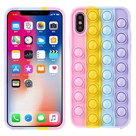 Чохол антистрес Pop It для iPhone X силіконовий, Bubble, Рожевий