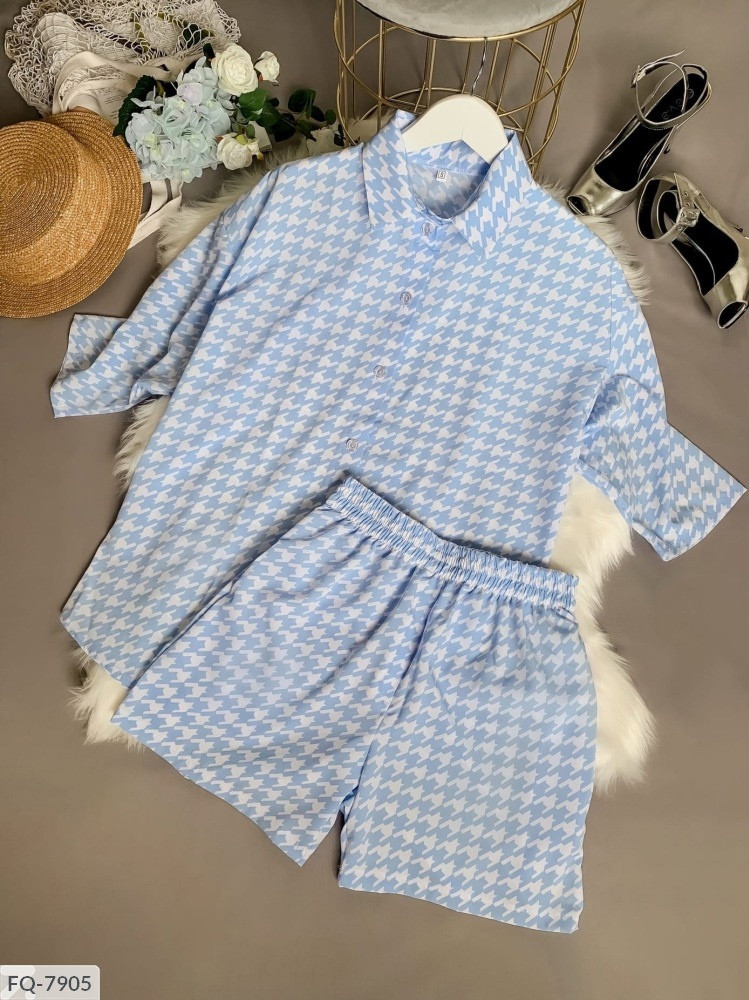 Женский костюм двойка шорты + рубашка софт