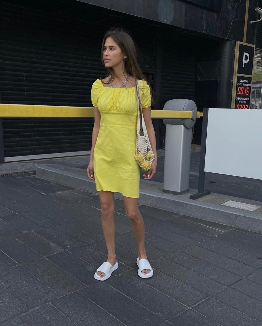 Женское коттоновое однотонное платье