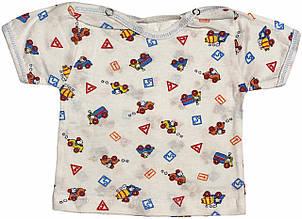 Дитяча футболка на хлопчика зростання 56 0-2 міс для новонароджених малюків кольорова бавовняна літня кулір білий