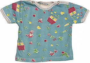 Дитяча футболка на хлопчика зростання 56 0-2 міс для новонароджених малюків кольорова бавовняна літня кулір блакитна