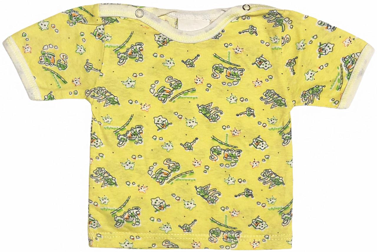 Дитяча футболка для новонароджених малюків ріст 62 2-3 міс на хлопчика дівчинку кольорова бавовна кулір жовта