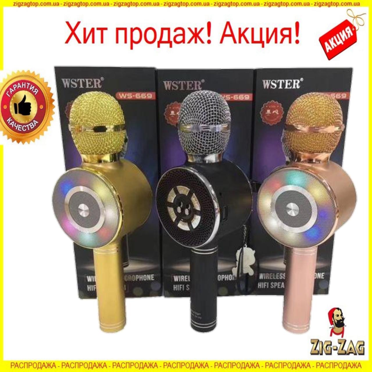 Караоке Мікрофон Wster WS-669 Бездротовий з Динаміком блютуз (USB, microSD, AUX, Bluetooth) Дитячий для дітей