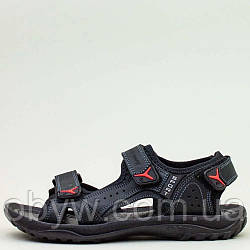 Літні сандалі для чоловіків, натуральна шкіра сині і чорні