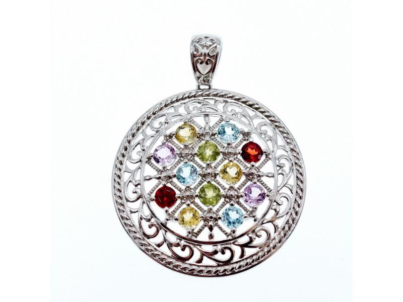 Серебряный кулон с натуральными камнями  Очарование