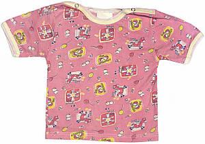 Дитяча футболка на дівчинку ріст 62 2-3 міс для новонароджених малюків кольорова бавовняна літня кулір рожева