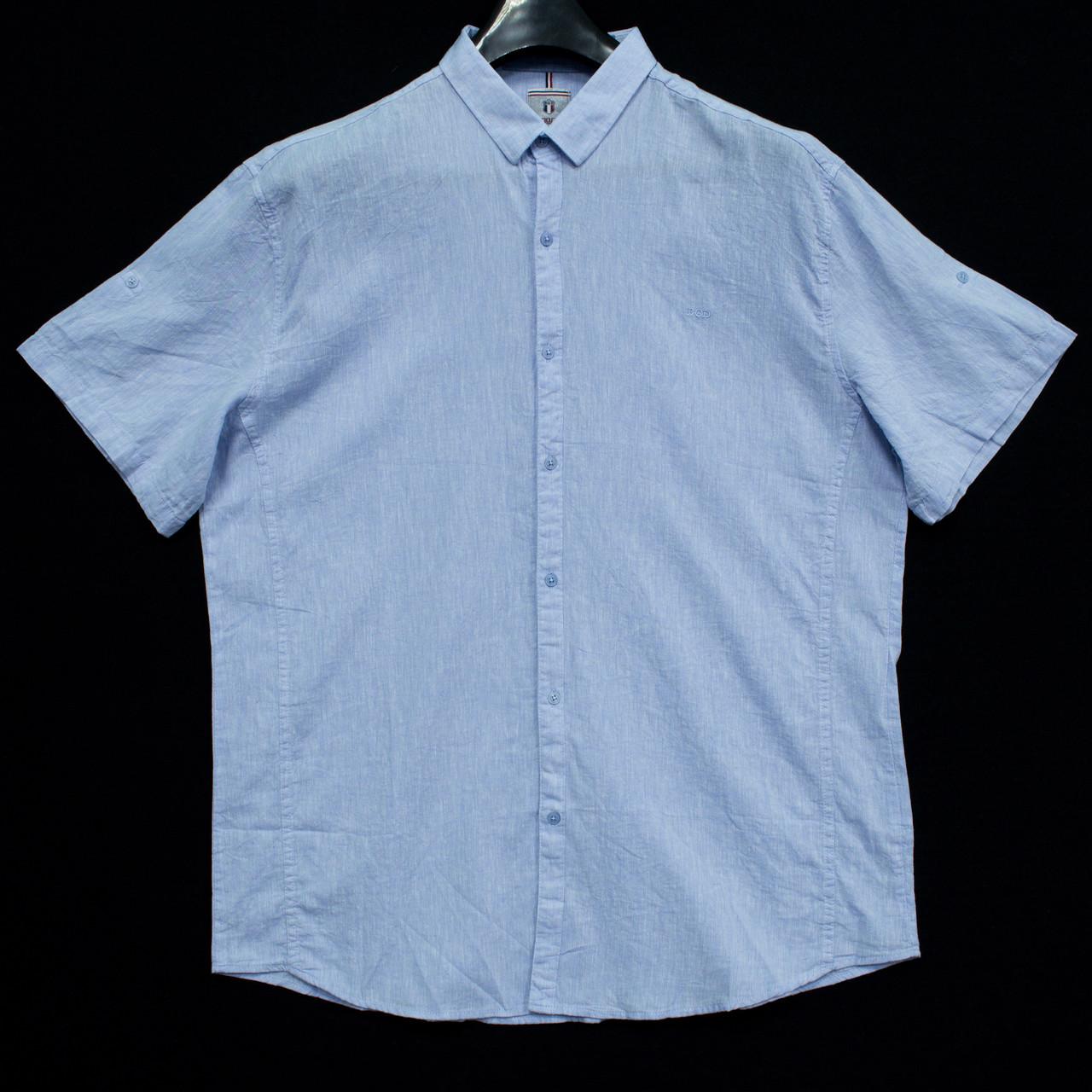 Сорочка чоловіча (приталена) з коротким рукавом Bagarda BG5727-B01 BLUE 80% льон 20% бавовна 6XL(Р)