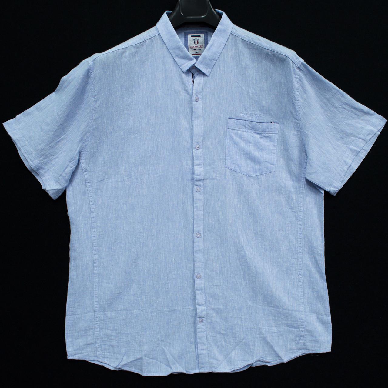 Сорочка чоловіча (приталена) з коротким рукавом Bagarda BG5723-B BLUE 80% льон 20% бавовна 5XL(Р)