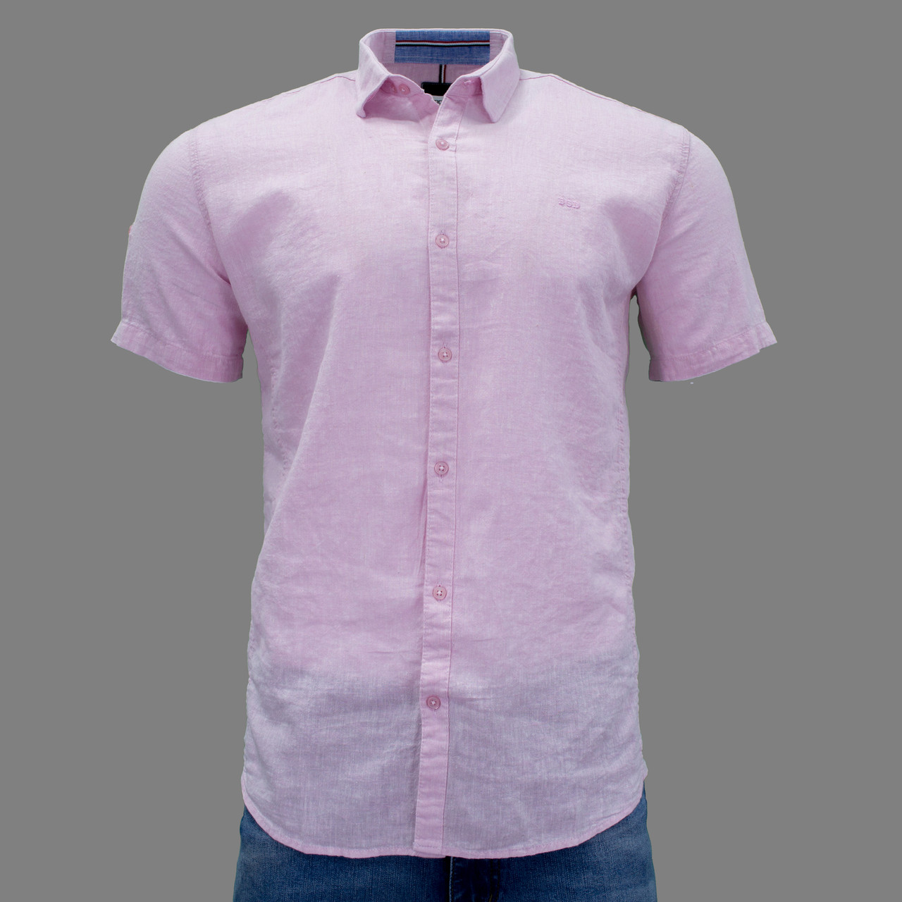 Сорочка чоловіча (приталена) з коротким рукавом Bagarda BG5727 PINK 80% льон 20% бавовна XXL(Р)