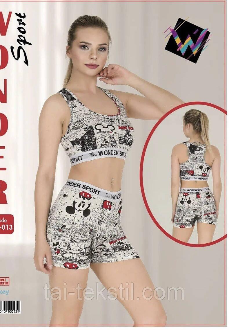 Комплект женский 2-ка топик + шорты спорт качество коттон S-M/L-XL Турция 015
