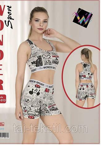 Комплект женский 2-ка топик + шорты спорт качество коттон S-M/L-XL Турция 015, фото 2