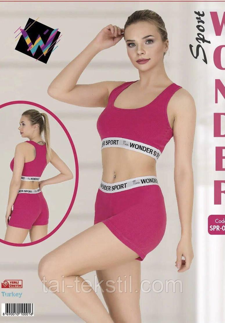 Комплект жіночий 2-ка топік + шорти спорт якість коттон S-M/L-XL Туреччина 001