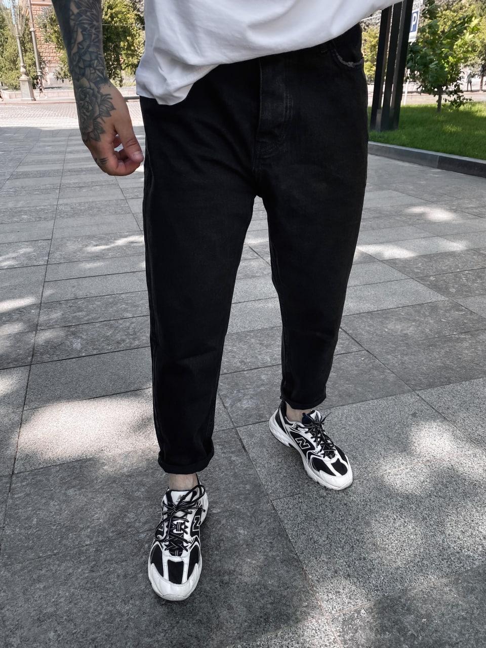 Джинси - Чоловічі чорні джинси МОМ / чоловічі джинси чорні МОМ