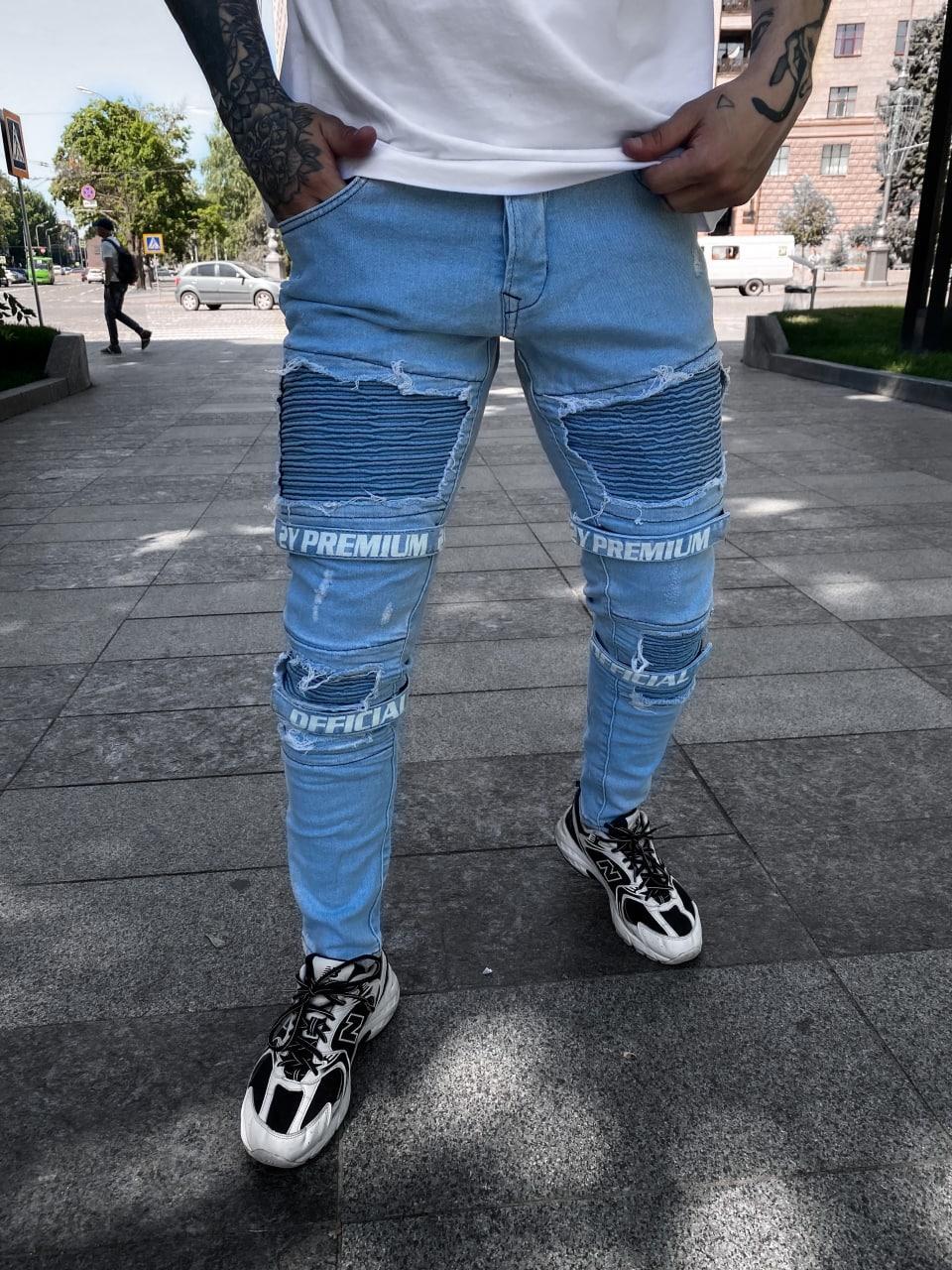 Джинси - блакитні джинси Чоловічі PREMIUM / чоловічі джинси голубі з написами PREMIUM