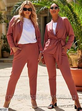 Літній жіночий костюм двійка цегляного кольору