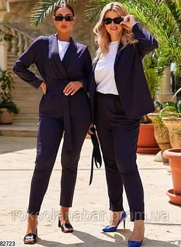 Літній жіночий костюм двійка темно-синього кольору