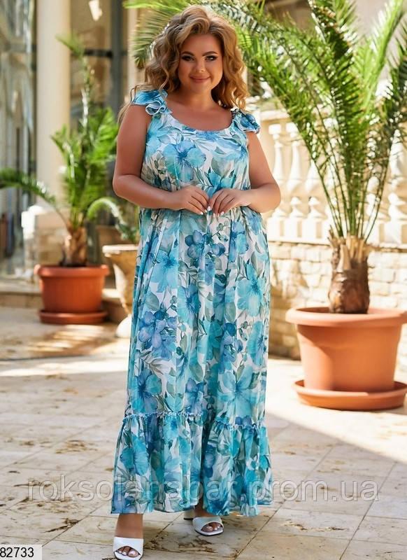Легкое летнее женское платье XL бирюзового цвета с цветочным принтом