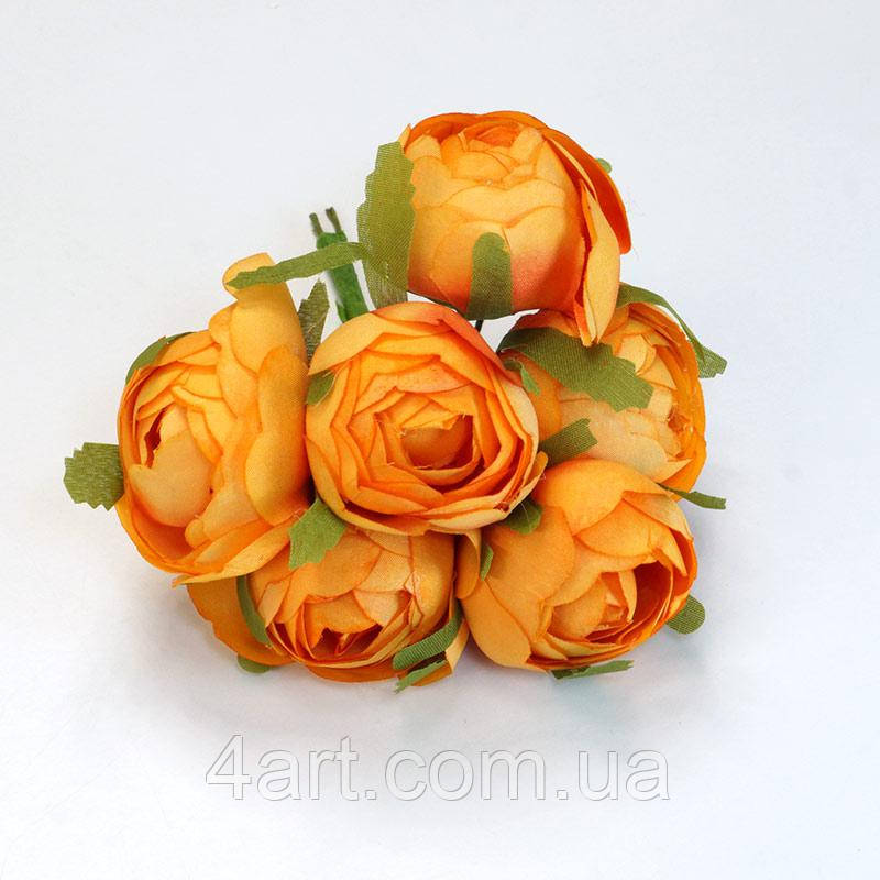 Квіти з тканини, уп. 36 шт. Помаранчеві