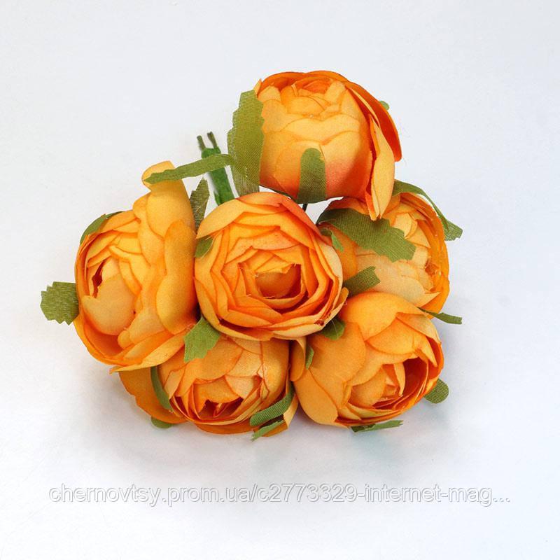 Пионы из ткани,  уп. 36 шт. Оранжевые