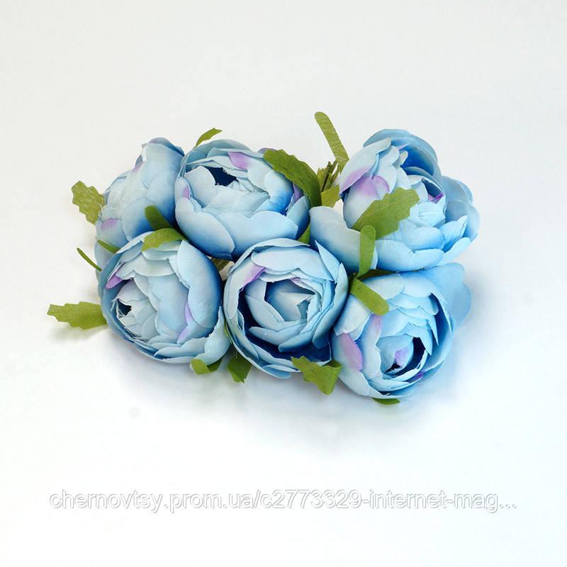 Квіти з тканини, уп. 36 шт. Блакитні