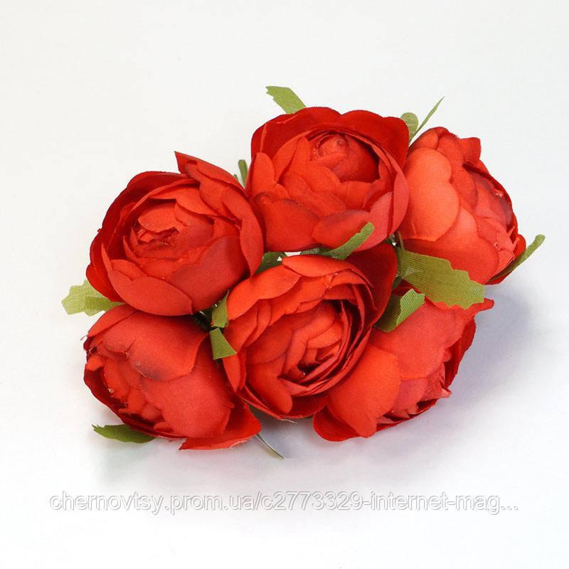 Квіти з тканини, уп. 36 шт. Червоні