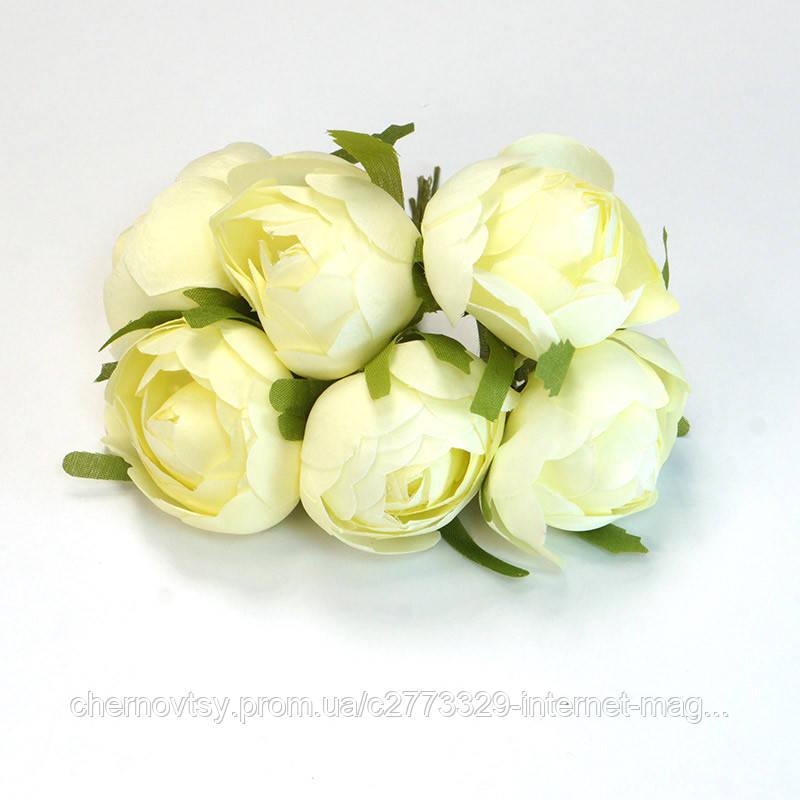Квіти з тканини, уп. 36 шт. Кремові