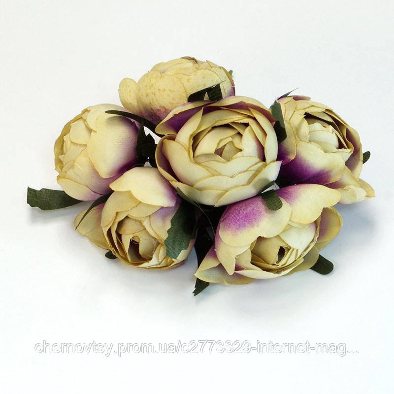 Квіти з тканини, уп. 36 шт. Бузкова пудра