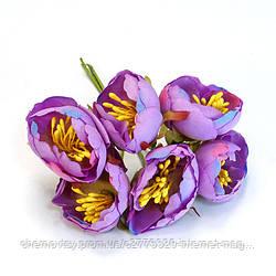 Квіти з тканини двоколірний з тичинками, уп. 60 шт. Бузковий