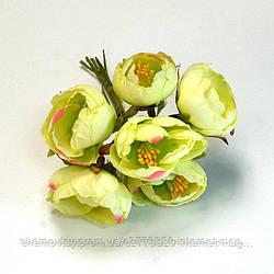 Квіти з тканини двоколірний з тичинками, уп. 60 шт. Кремові