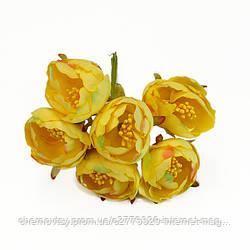 Квіти з тканини двоколірний з тичинками, уп. 60 шт. Жовті
