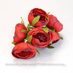 Квіти з тканини двоколірний з тичинками, уп. 60 шт. Червоні