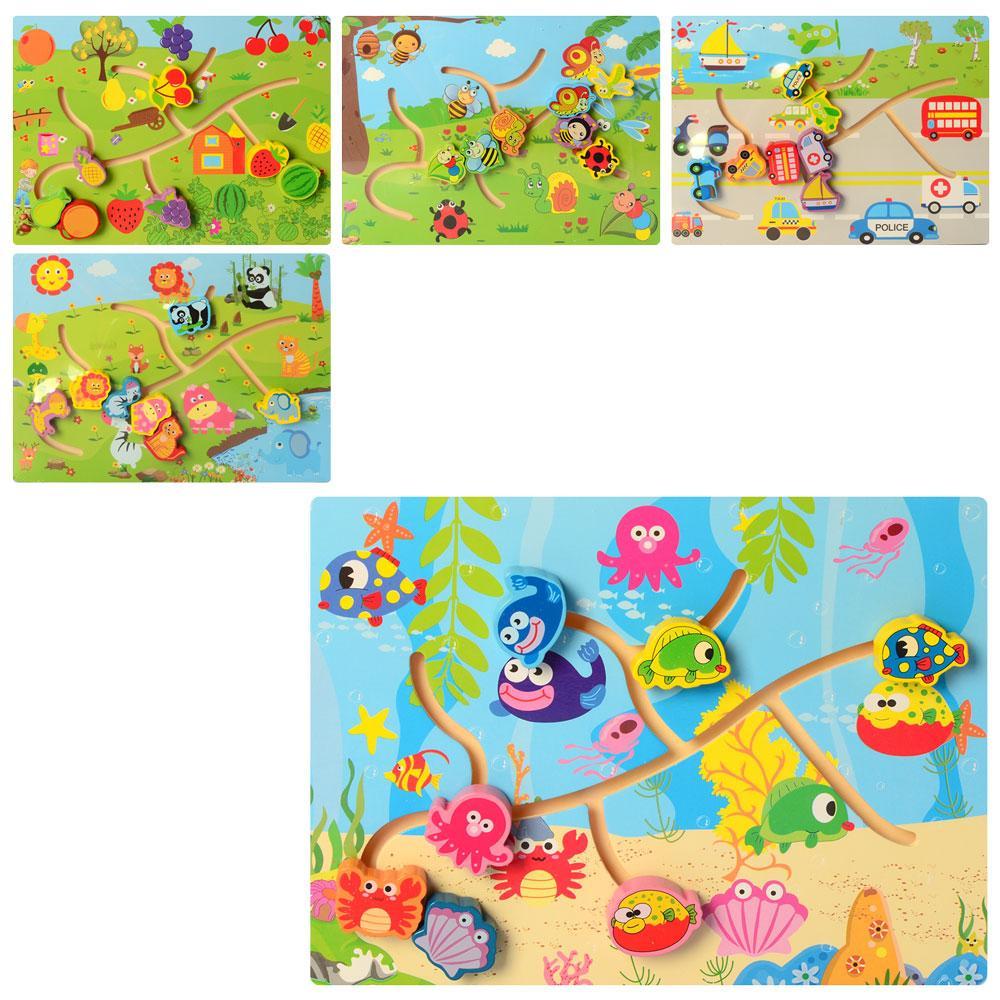 Дерев'яна іграшка Гра MD 2478 (72шт) транспорт / природа, лабіринт, мікс видів, в кульку, 30-22-3см