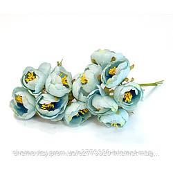 Квіти з тканини двоколірний з тичинками, уп. 60 шт. Блакитні
