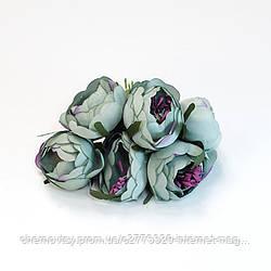 Квіти з тканини двоколірний з тичинками, уп. 60 шт. Сіро-блакитні